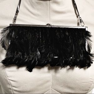 Limited Black Feather Gunmetal Chain Clutch Purse